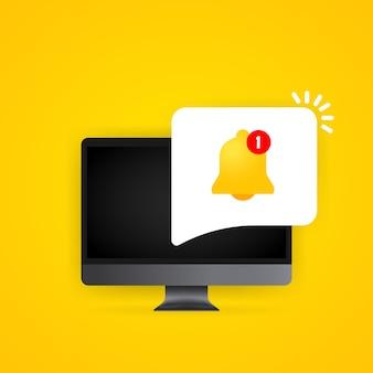Campanello di notifica sull'illustrazione del display del computer. nuovo messaggio. vettore su sfondo isolato. env 10.