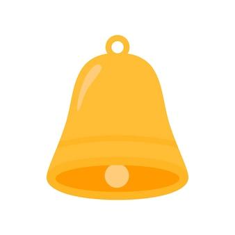 Icona della campana di notifica. la campana di allarme dorata sta tremando.