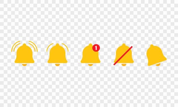 Insieme dell'icona di notifica campana. promemoria per app. avviso o segno muto