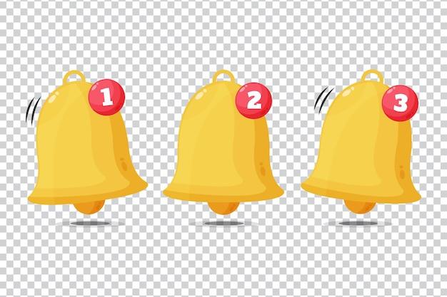 Icona di notifica campana dorata su sfondo bianco