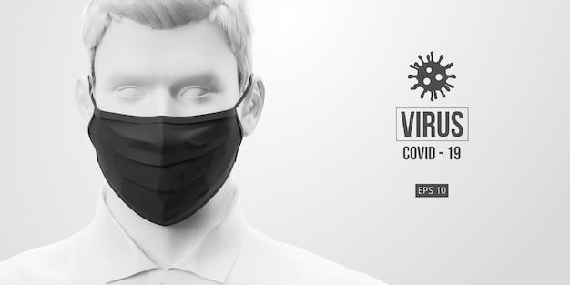 Nuovo coronavirus covid-2019. uomo di colore bianco in maschera nera su sfondo bianco.