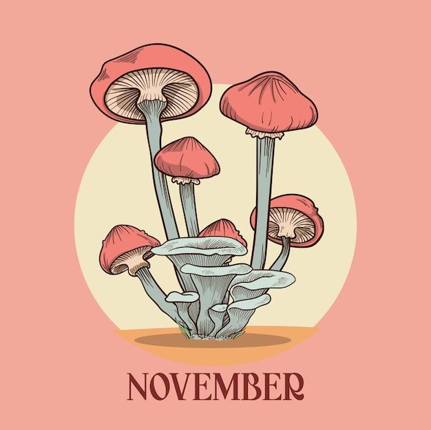Novembre autunno con sfondo di funghi sfondo