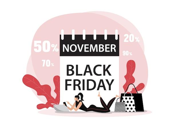 Data di venerdì nero di novembre con persone concetto piatto di acquisto online.