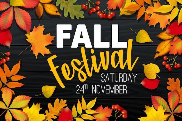 Annuncio del festival di autunno autunno di novembre, banner di invito, modello con foglie cadute, fogliame colorato realistico con testo