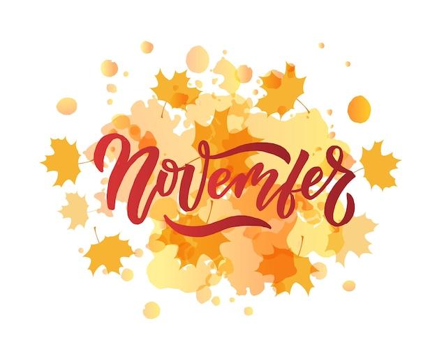 Tipografia di lettere di novembre calligrafia moderna di novembre illustrazione vettoriale di sfondo con texture