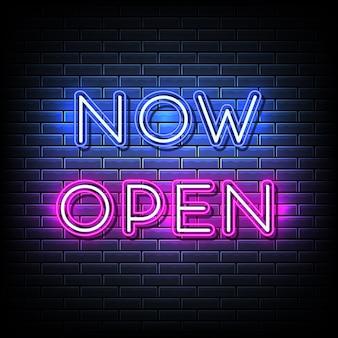 Ora apri il testo al neon, il modello in stile neon