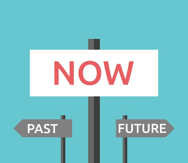 Ora, segnali stradali passati e futuri sullo sfondo del cielo blu turchese. concetto di tempo e concentrazione. design piatto. illustrazione vettoriale eps 8, nessuna trasparenza