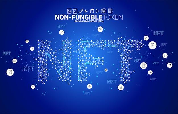 Ntf dalla linea di connessione del punto polygon. banner per il mercato dei token non fungibili.
