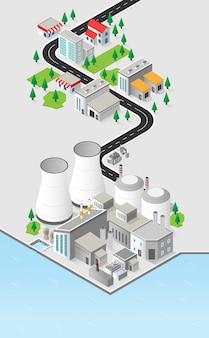Energia nucleare, centrale nucleare con grafica isometrica