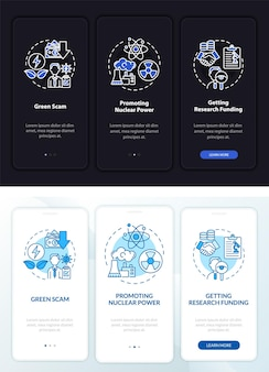 Schermata della pagina dell'app mobile a bordo della promozione dell'energia nucleare