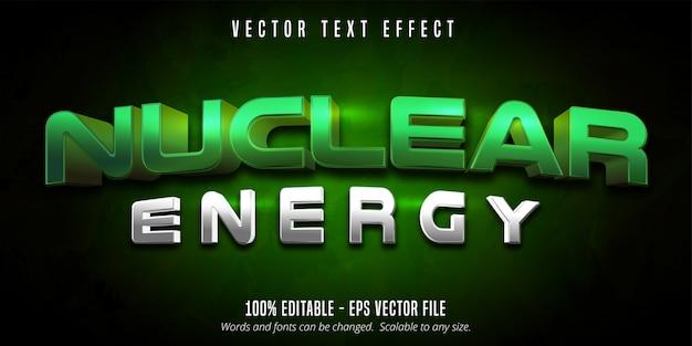 Testo di energia nucleare, effetto di testo modificabile in stile gioco