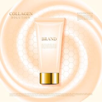 Tubo crema cosmetica per la cura della pelle di colore nudo, design pubblicitario