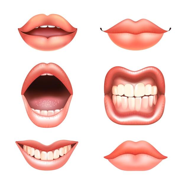 Labbra nude con denti incastonati