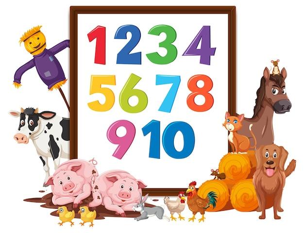Numero da 0 a 9 sul banner con animali da fattoria