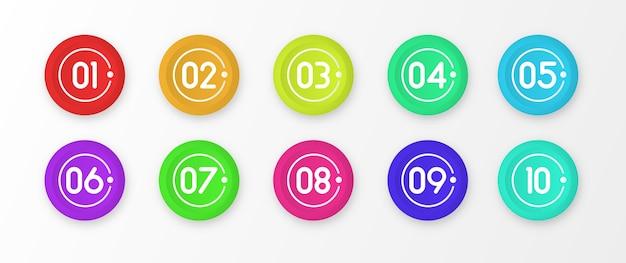 Numero da 1 a 10 marcatori colorati punto elenco isolato.