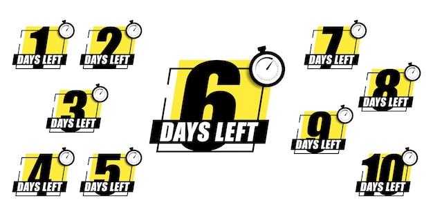 Numero 1, 2, 3, 4 5 6 7 8 9 mancano 10 giorni alla fine banner della pagina di destinazione della vendita dei badge della collezione. illustrazione vettoriale.