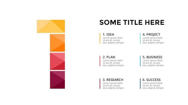 Numero 1 modello di infografica presentazione diapositiva disegno di lettere carattere creativo
