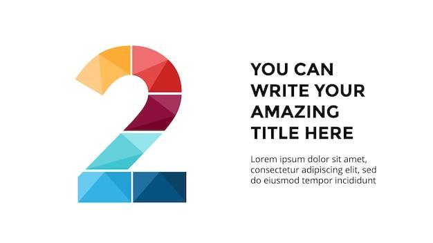 Modello di infografica numero 2 presentazione diapositiva disegno di lettere carattere creativo