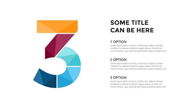 Modello di infografica numero 3 presentazione diapositiva disegno di lettere carattere creativo