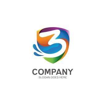 Numero 3 e design del logo dello scudo