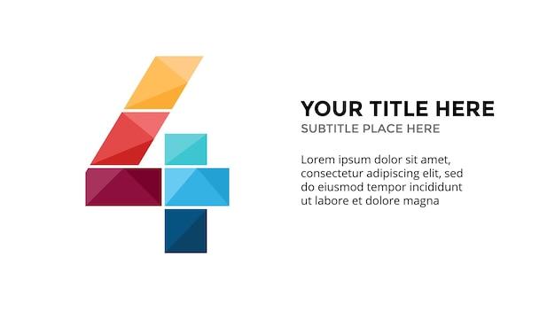 Modello di infografica numero 4 presentazione diapositiva disegno di lettere carattere creativo