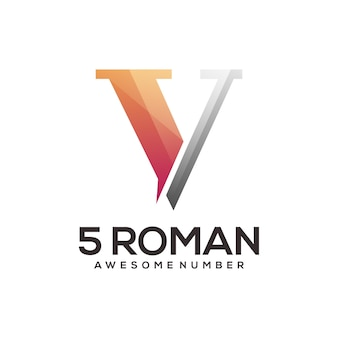 Numero 5 logo romano gradiente colorato