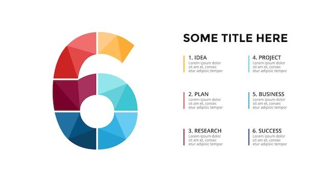 Modello di infografica numero 6 presentazione diapositiva disegno di lettere carattere creativo