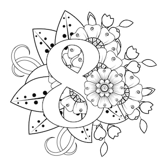 Numero 8 con ornamento decorativo fiore mehndi in stile etnico orientale libro da colorare pagina