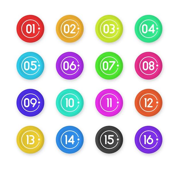 Marcatori 3d colorati punto elenco numero isolati su priorità bassa bianca. icona del marcatore di proiettile con numero da 1 a 12 per infografica, presentazione. colore sfumato punto appiccicoso.