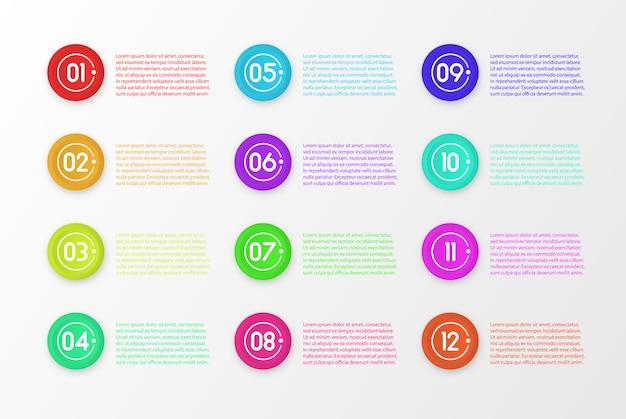 Marcatori 3d colorati punto elenco numero isolati su priorità bassa bianca. icona del marcatore di proiettile con numero da 1 a 12 per infografica, presentazione.