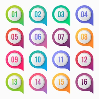 Disegno dell'icona gradiente colorato punto punto elenco