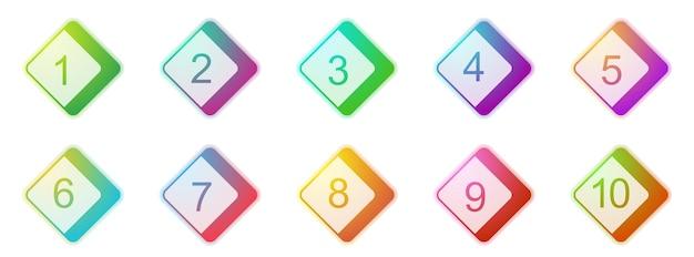 Punti elenco numero da 1 a 10. set di marcatori 3d colorati. illustrazione vettoriale. punti elenco quadrati.