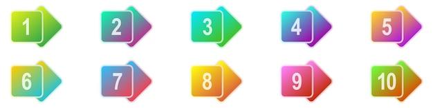 Punti elenco numero da 1 a 10. set di indicatori colorati. illustrazione vettoriale. punti elenco geometrici.
