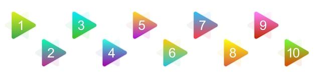 Numero punti elenco da 1 a 10. set di marcatori 3d creativi. illustrazione vettoriale. punti elenco triangolari.