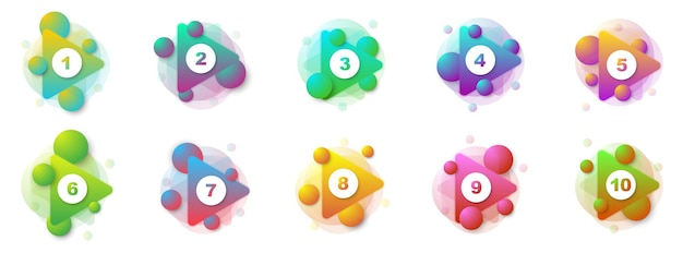 Numero punti elenco da 1 a 10. set di marcatori 3d creativi. illustrazione vettoriale.