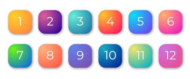 Numero di punti elenco da 1 a 10 set di indicatori 3d gradiente alla moda