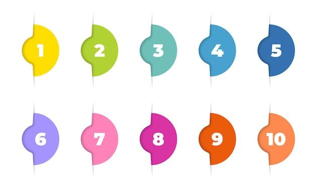 Numero di punti elenco da 1 a 12 set di modelli di marcatori alla moda