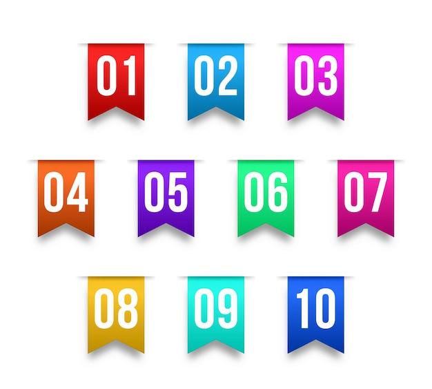 Numero di punti elenco da uno a dodici indicatori di informazioni punti elenco
