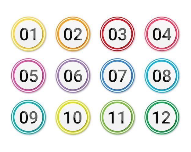 Numero di punti elenco impostato da 1 a 12 isolato numero di punti elenco gradiente di colore del cerchio