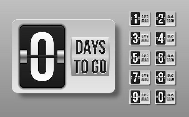 Numero di giorni rimanenti del conto alla rovescia. conta la vendita del tempo. giorni da fare.