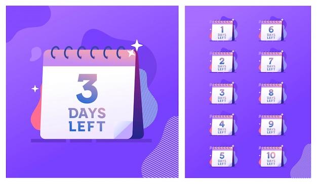 Numero di giorni rimanenti conto alla rovescia modello di illustrazione, può essere utilizzato per promozione, vendita, landing page, modello, interfaccia utente, web, app mobile, poster, banner, flyer