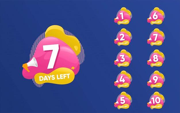 Numero di giorni rimanenti conto alla rovescia modello di illustrazione, può essere utilizzato per promozione, vendita, landing page, modello, interfaccia utente, web, app mobile, poster, banner, flyer Vettore Premium