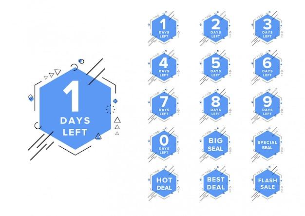 Il numero di giorni ha lasciato il modello dell'illustrazione di vettore di conto alla rovescia Vettore Premium