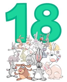 Numero diciotto e gruppo di conigli cartoon