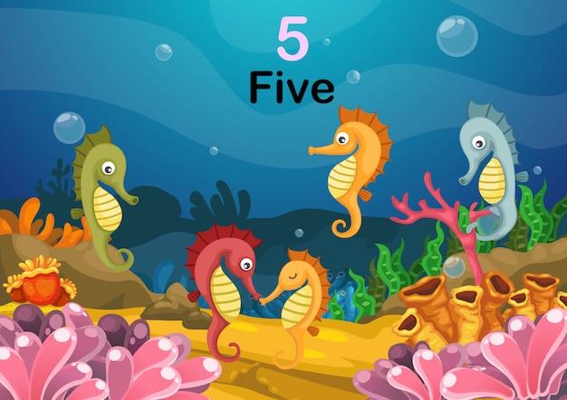Numero cinque cavalluccio marino sotto il vettore del mare