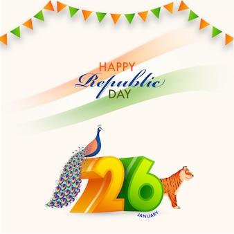 Numero di gennaio con pavone, illustrazione della tigre e bandierine della stamina su fondo bianco per il concetto felice di festa della repubblica.