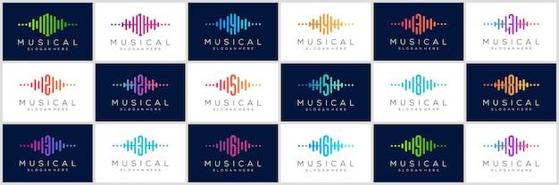 Logo numerico con set di icone a impulsi