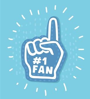 Guanto da mano numero uno del fan con l'icona di vettore piatto alzato dito