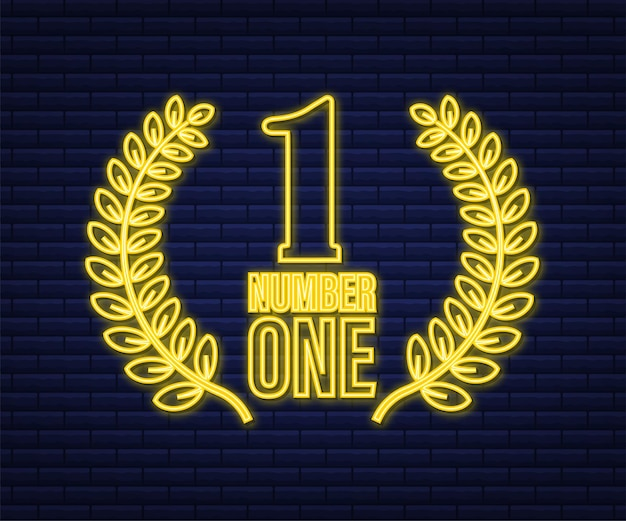 Numero uno per il design del gioco. numero dell'icona dell'oro del nastro del premio. risultato del concorso. vincitore icona al neon