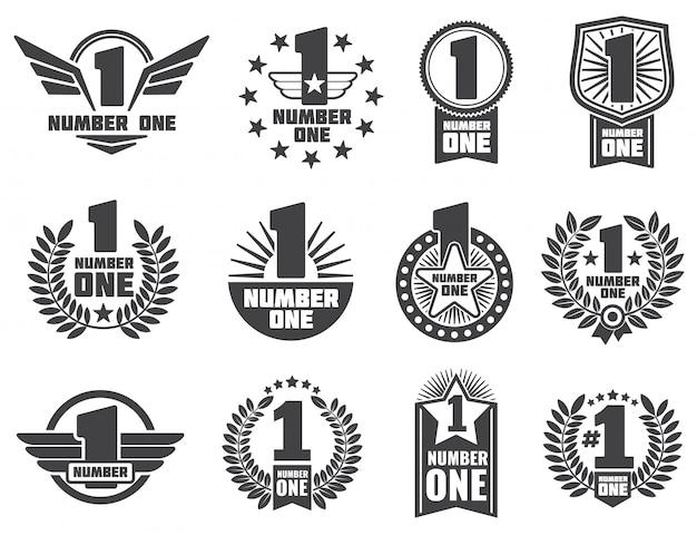 Numero uno logo ed etichette di identità aziendale retrò